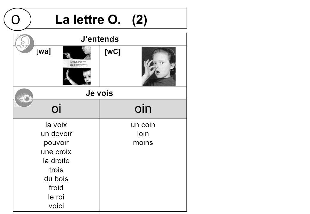 O La lettre O. (2) oi oin J'entends Je vois [wa] [wC] la voix